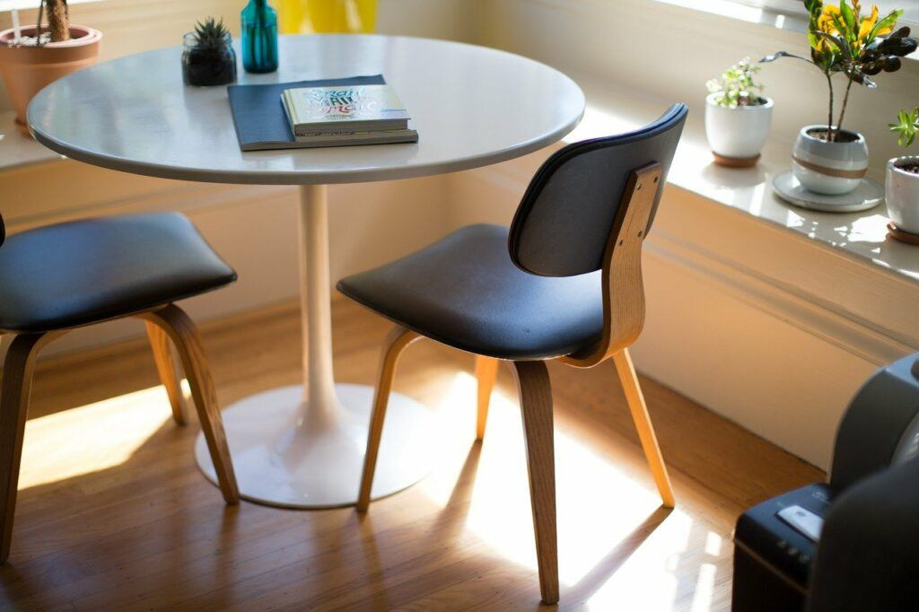 furniture, table, chairs